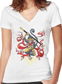 Monkey King Women's Fitted V-Neck T-Shirt