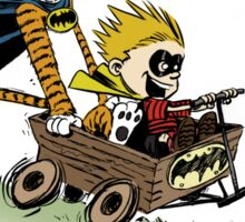 Calvin and Hobbes cosplaying Sticker