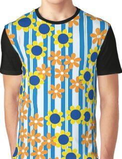 Summer Floral Stripes Blue Yellow Orange Flowers Graphic T-Shirt