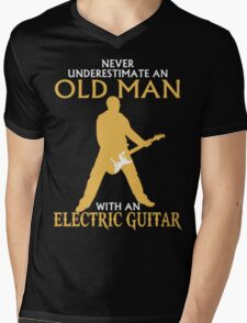 Never Underestimate An Old Man With An Electric Guitar Mens V-Neck T-Shirt