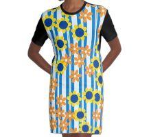Summer Floral Stripes Blue Yellow Orange Flowers Graphic T-Shirt Dress