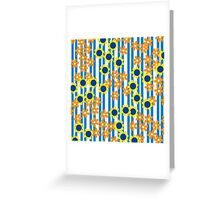 Summer Floral Stripes Blue Yellow Orange Flowers Greeting Card