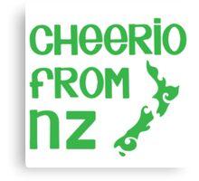 Cheerio from NZ (New Zealand cute kiwi saying) Canvas Print