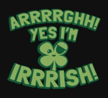 AARGH Yes I'm IRISH! with pirate shamrock Kids Clothes