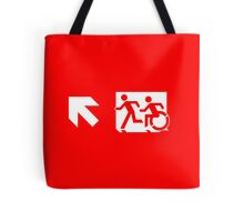 Accessible Means of Egress Icon and Running Man Emergency Exit Sign, Left Hand Diagonally Up Arrow Tote Bag