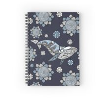 Big blue whale with wavy ornaments and hand drawn shapes Spiral Notebook