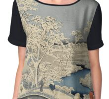 Japanese Print: Snow on Bridge Chiffon Top