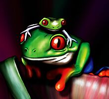 Red Eyed Tree Frogs by bexish