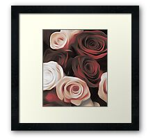 Blood Red & White Roses Framed Print
