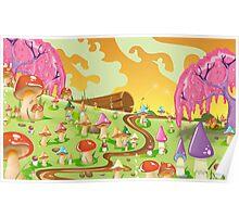 Mushroom fields Landscape Cartoon Poster
