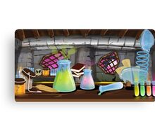 Science Laboratory with experiments bubbling Canvas Print