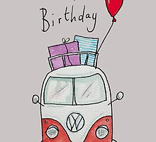 Birthday Camper Van With Presents  by AndyLanhamArt