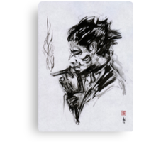Smoking Man (sumi-e) Canvas Print