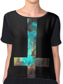 Green Galaxy Inverted Cross Chiffon Top