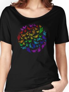 Butterfly rainbow color in a circle on black Women's Relaxed Fit T-Shirt
