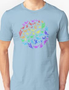 Butterfly rainbow color in a circle on black Unisex T-Shirt