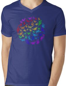 Butterfly rainbow color in a circle on black Mens V-Neck T-Shirt