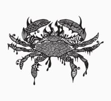 T-shirt with crab #1 hand drawn art  by martywoodskk