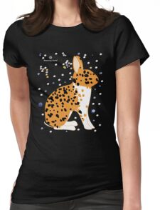 Black Spotted Japanese Rabbit Womens Fitted T-Shirt
