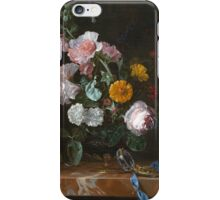 Willem Van Aelst - Vanitas Flower Still Life . Still life with flowers: still life with flowers, flowers, blossom, nature, botanical, floral flora, wonderful flower, plants, garden, vase iPhone Case/Skin