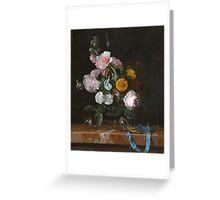 Willem Van Aelst - Vanitas Flower Still Life . Still life with flowers: still life with flowers, flowers, blossom, nature, botanical, floral flora, wonderful flower, plants, garden, vase Greeting Card