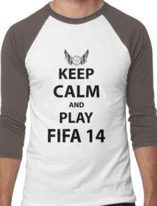 Keep Calm And Play Fifa 2014 Men's Baseball ¾ T-Shirt