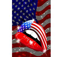 USA Flag Lipstick on Sensual Lips Photographic Print