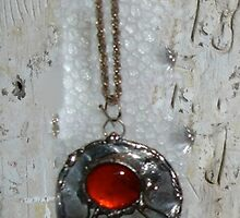 Round Amber Glass Jewel and Copper pendant by Maree  Clarkson