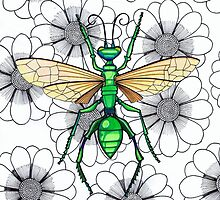 Metallic green insect on flowers by Vicky Pratt