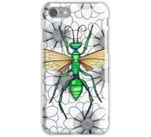 Metallic green insect on flowers iPhone Case/Skin