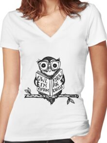 Optometry Owl Women's Fitted V-Neck T-Shirt