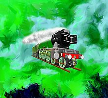 Flying Scotsman with Blinkers - pillow & tote by Dennis Melling