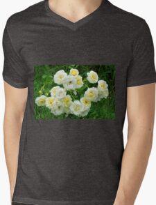 White roses in the garden. Mens V-Neck T-Shirt