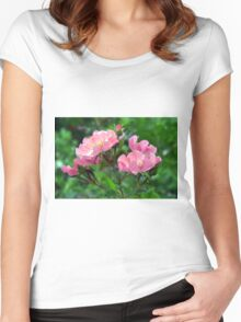 Pink small flowers, natural background. Women's Fitted Scoop T-Shirt