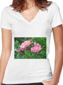 Pink small flowers, natural background. Women's Fitted V-Neck T-Shirt