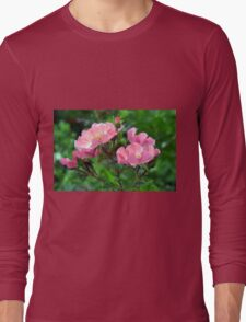 Pink small flowers, natural background. Long Sleeve T-Shirt