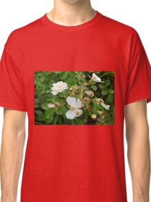 Small white delicate flowers and green leaves. Classic T-Shirt