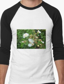 Small white delicate flowers and green leaves. Men's Baseball ¾ T-Shirt