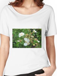 Small white delicate flowers and green leaves. Women's Relaxed Fit T-Shirt