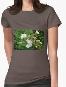 Small white delicate flowers and green leaves. Womens Fitted T-Shirt