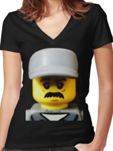 Lego Janitor minifigure Women's Fitted V-Neck T-Shirt
