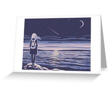 girl and the sunset sea Greeting Card
