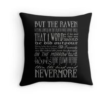 Edgar Allan Poe RAVEN typography Throw Pillow