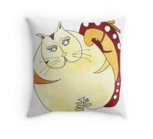 A years supply of cat food? Throw Pillow