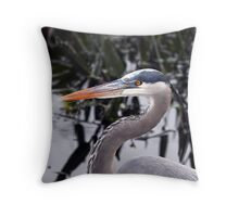 Great blue Heron - Portrait Throw Pillow