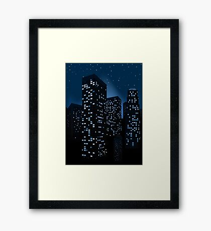 Night Cityscape Background 2 Framed Print