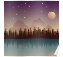 Relaxing Forest at Night Poster