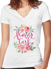 Flower Girl Watercolor Peonies Women's Fitted V-Neck T-Shirt