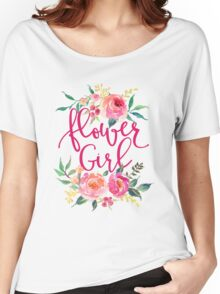 Flower Girl Watercolor Peonies Women's Relaxed Fit T-Shirt