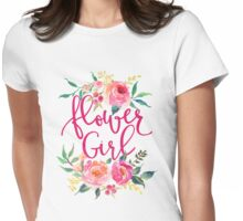 Flower Girl Watercolor Peonies Womens Fitted T-Shirt